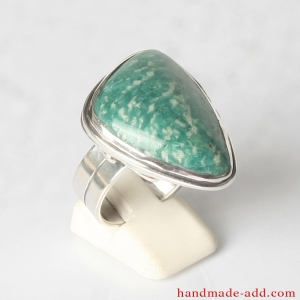 Sterling Silver Ring with Genuine Amazonite