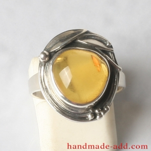 Sterling Silver Ring with Genuine Amber