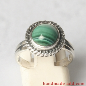 Sterling Silver Ring with Genuine Malachite