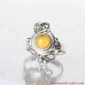 Silver Unusual Ring with Amber