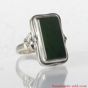 Silver Ring with Green Nephrite