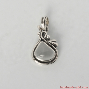 Silver Necklace with genuine Rock crystal. Sterling Silver Necklace with Colorless Quartz.