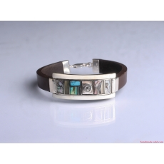 Mens brown leather turquoise bracelet, turquoise mens bracelet unique, leather and sterling silver bracelet for men.