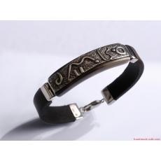 Men unisex bracelet Dark brown leather bracelet Textured oxidized sterling silver Gift for her Bangle men bracelet Gift for Him His and hers