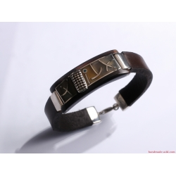 Unisex Dark Brown Leather Bracelet
