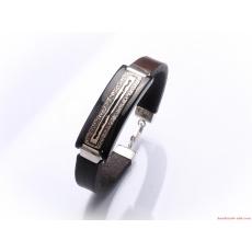 Silver Brown Leather Bracelet Dark Brown