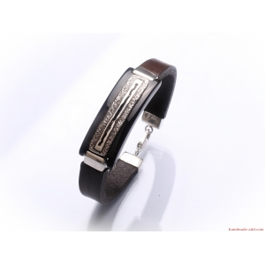 Silver Brown Leather Bracelet Dark Brown