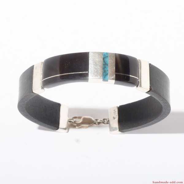 Leather Silver Turquoise Bracelet Gift for him his hers.