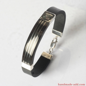 Silver leather men bracelet. Black leather bracelet with sterling silver.  Gift for Him His and hers Mother-of-pearl inlay.