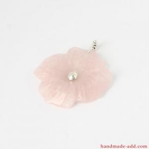 Silver Necklace Pendant Carved Rose quartz