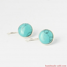 Turquoise Sterling  Silver Round Earrings