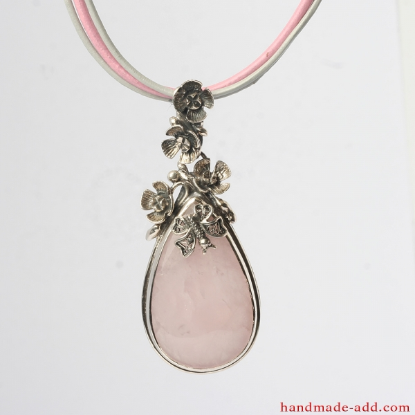 Rose quartz Silver Necklace Pendant with leather chain