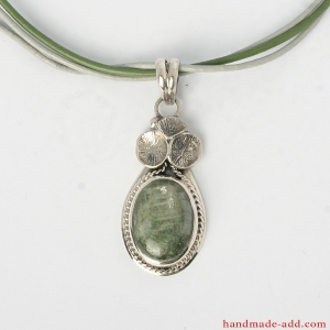 Green Kyanite Necklace Pendant handcrafted of silver 950