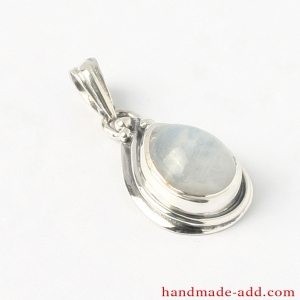 Moonstone Silver Necklace Pendant. Sterling silver pendant completely handmade with gemstone moonstone teardrop shape.