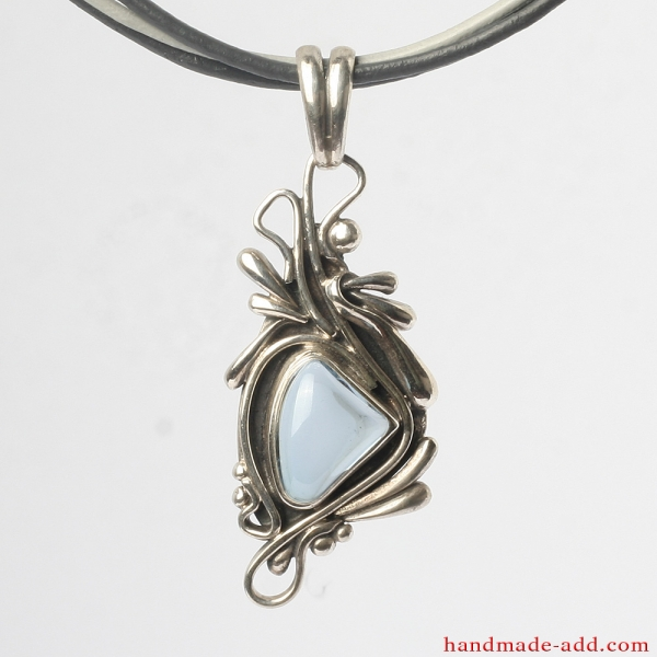 Necklace Silver Aquamarine, Sterling Silver Necklace with Aquamarine