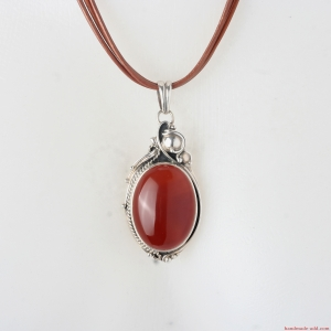 Silver Necklace Carnelian. Sterling Silver Necklace with Carnelian.