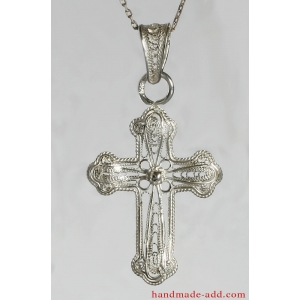Filigree Cross Traditional Art, Sterling Silver Cross Pendant Necklace