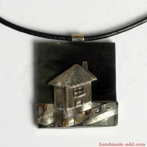 "Unique necklace ""My sweet home at dusk"""