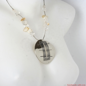 Bohemian necklace with clear quartz and citrine