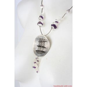 Bohemian necklace with clear quartz and amethyst