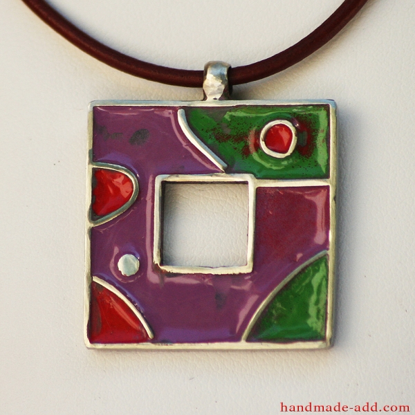Choker necklace. Multi color enamel, fine leather cord, stainless steel pendant