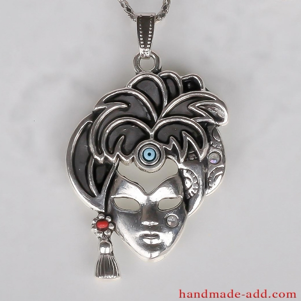 Necklace Woman's Mask, Handmade Necklace with Glass, CZ, Alloy