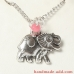 Necklace Elephant  with Birthstone genuine Rose quartz, Amethyst, Citrine, Blue Quartz or Agate.