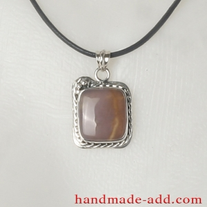 Silver Necklace Pendant Amethyst - Sagenite. Sterling Silver Necklace with genuine Amethyst - Sagenite.