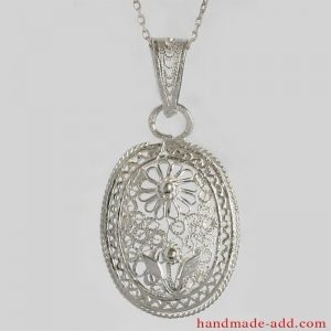 Filigree Necklace Silver, Sterling Silver Necklace, Oval Shape, Fashion Jewelry Necklaces, Jewelry for Ladies