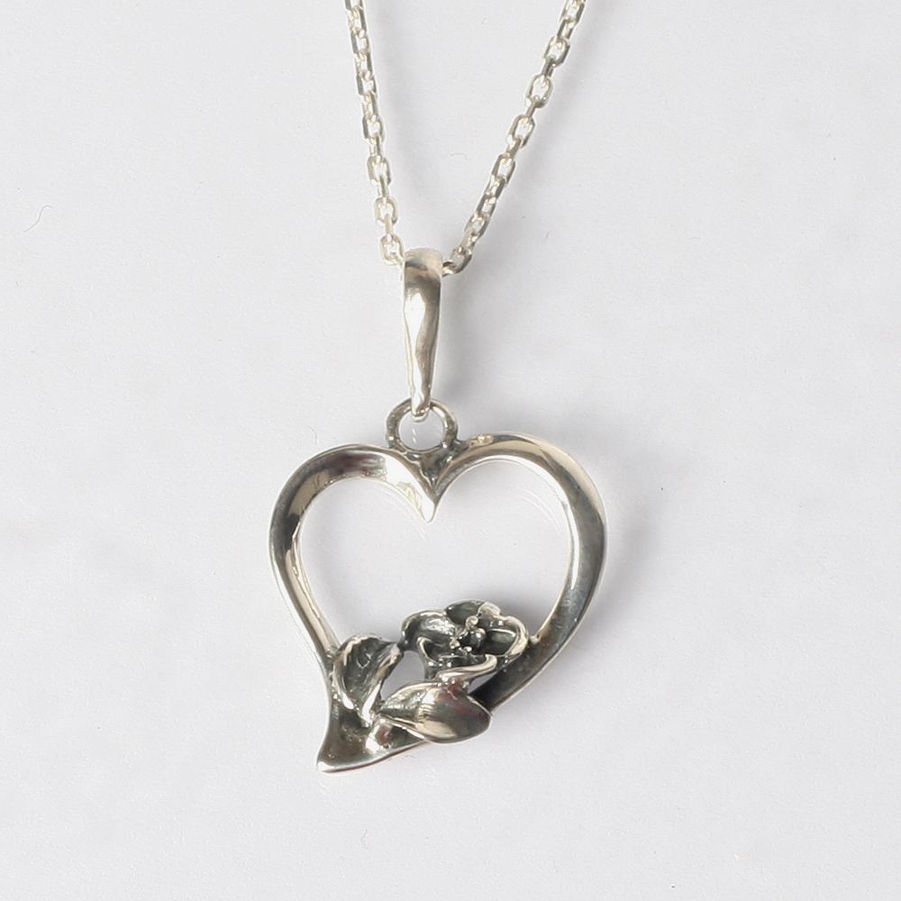 Sterling silver heart necklace pendant with flower aloadofball Images