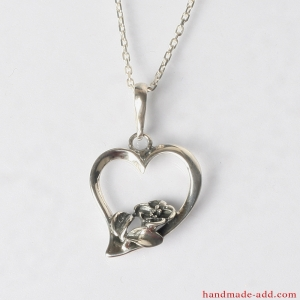 Sterling Silver Heart Necklace Pendant With Flower
