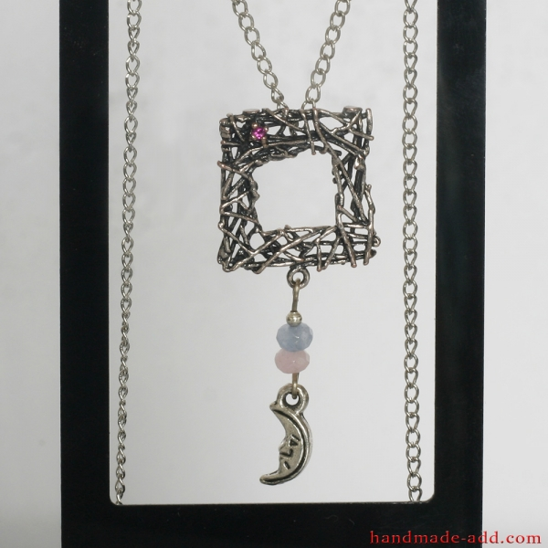 Necklace Quartz Ruby, Handmade Necklace with Genuine Rose Quartz,  Blue Quartz and lab created Ruby