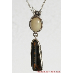 Necklace Silver Opal Tiger's Eye. Sterling Silver Necklace with Gemstones