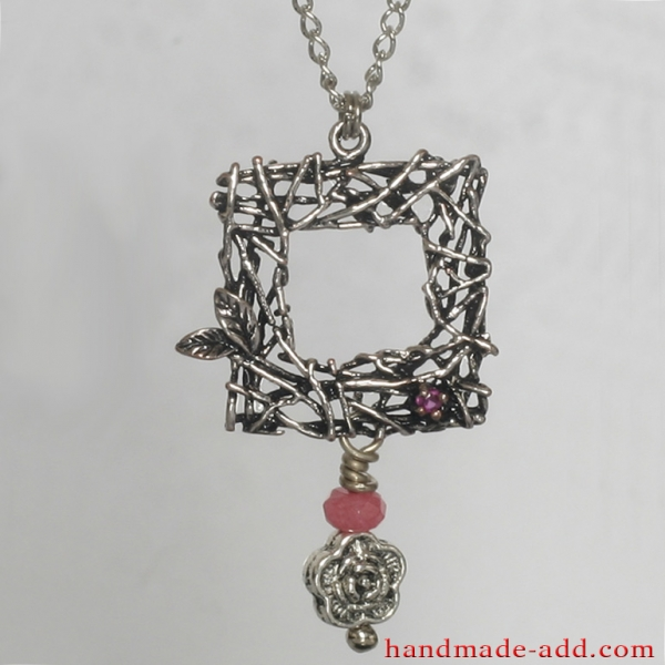 Necklace Rose Quartz Ruby, Handmade Necklace with Genuine Rose Quartz and lab created Ruby