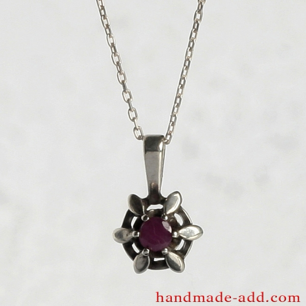 Necklace Silver Ruby, Sterling Silver Necklace with Genuine Ruby