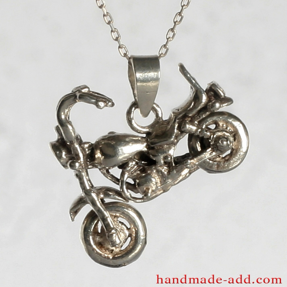 Handmade motorcycle pendant necklace