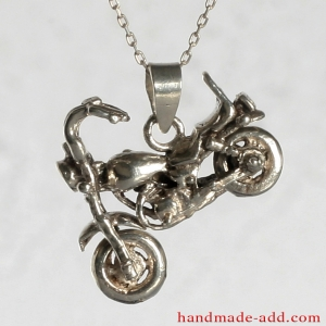 Necklace Silver Motorcycle, Sterling Silver Necklace with motorcycle
