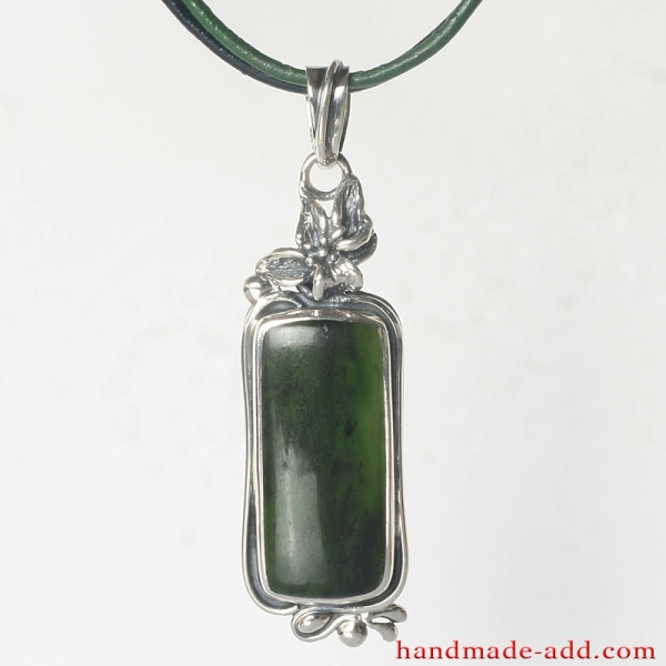 Silver Necklace Nephrite,. Sterling Silver Necklace with Nephrite.