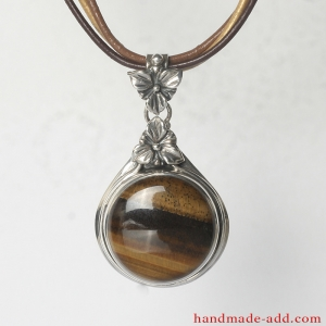Silver Necklace Pendant Tiger's Eye. Sterling Silver Necklace with genuine Tiger's Eye.