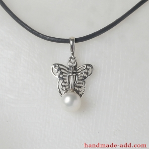 Sterling Silver White Pearl Necklace with Butterfly