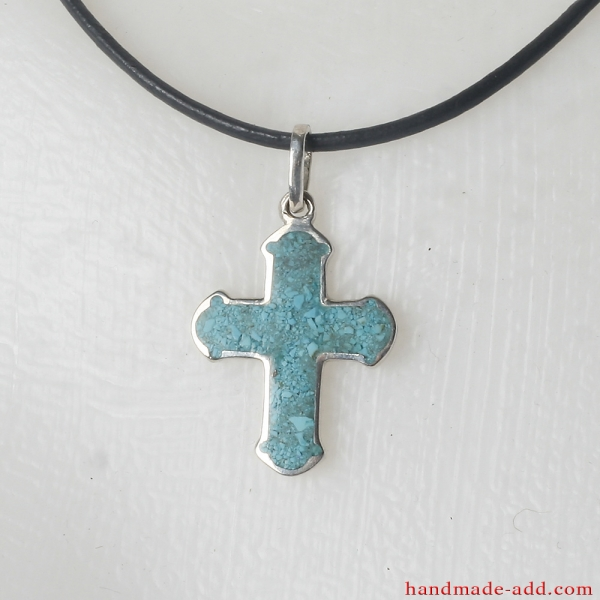 Silver Cross Necklace Pendant Turquoise. Sterling Silver Cross with Turquoise.