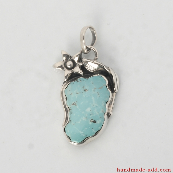 Silver Necklace Pendant Turquoise. Sterling Silver Necklace with genuine Turquoise from Ararat.