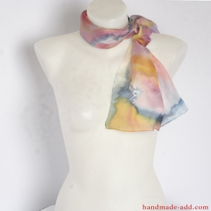 Hand Painted Flowers Silk Scarf, Silk Scarf, Womens Silk Accessory