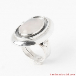 Rose quartz Ring Handcrafted, Sterling Silver Ring with genuine /natural/ rose quartz