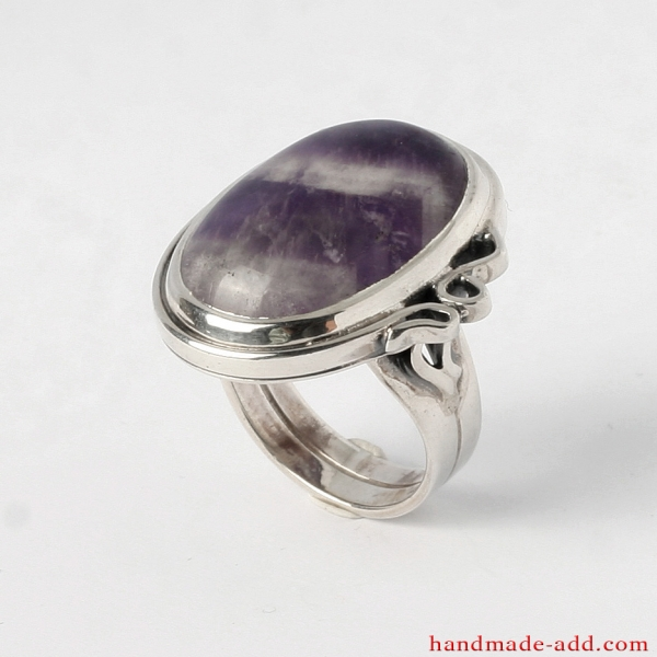 Genuine Amethyst engagement ring. Sterling silver amethyst ring for women.