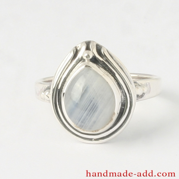 Rainbow Moonstone Sterling Silver Ring  Gemstone Ring