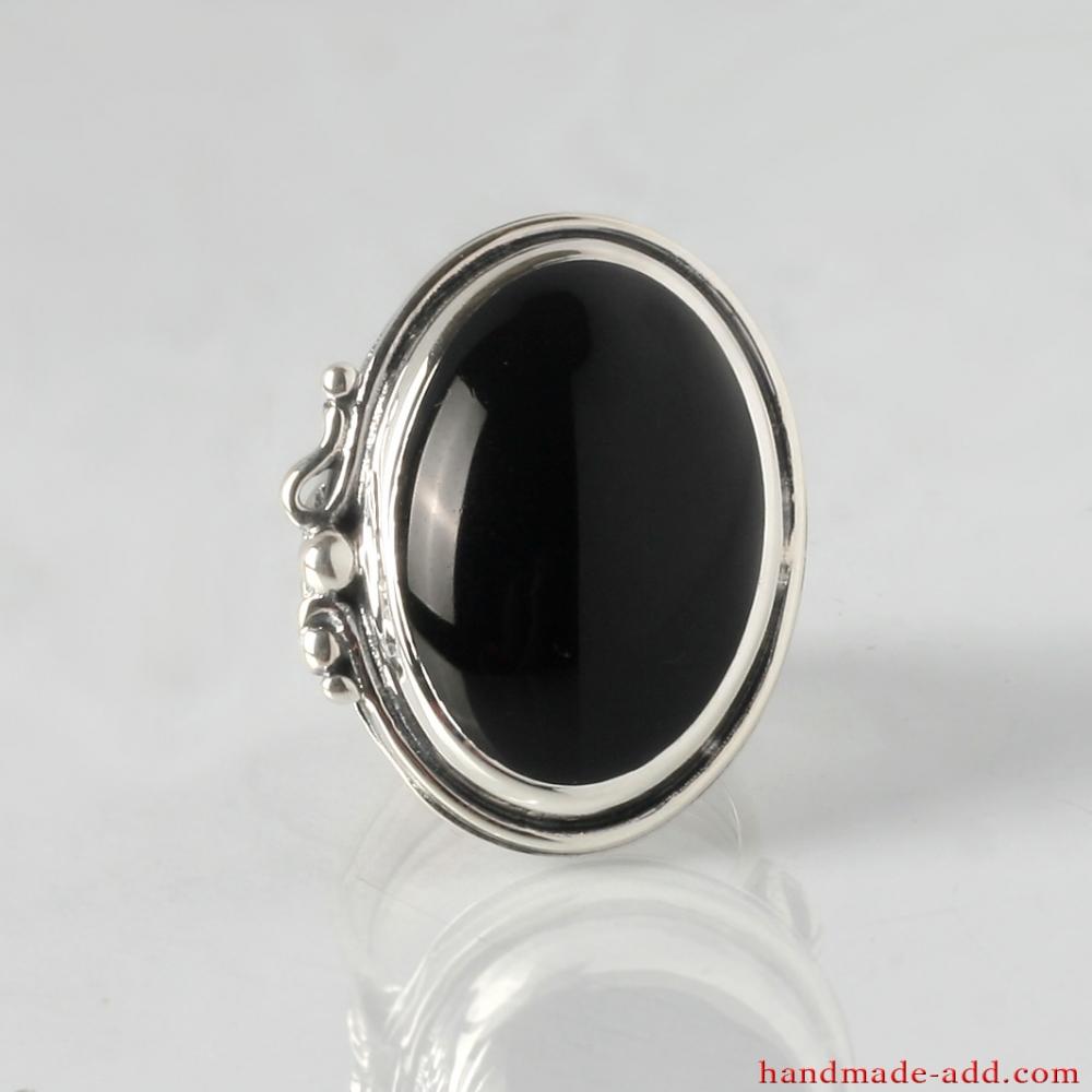 925 SOLID STERLING SILVER HANDMADE JEWELRY BLACK ONYX OVAL SHAPE PENDANT