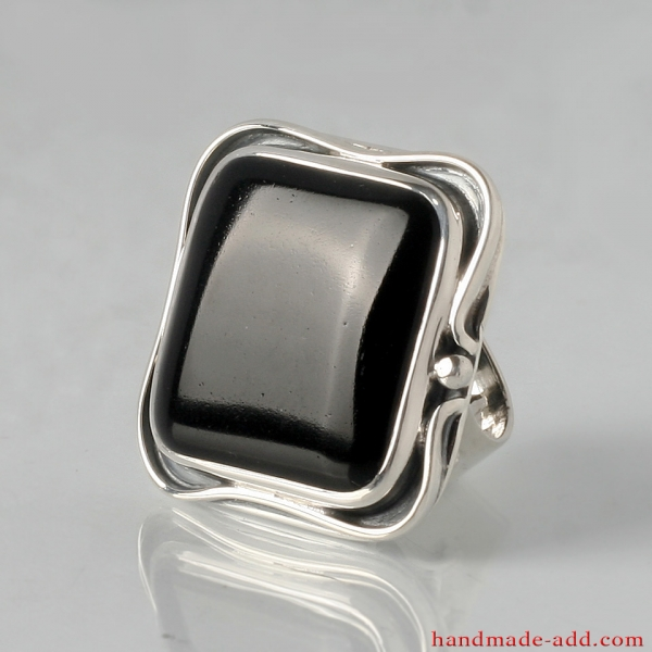 Huge Square Silver Ring with Black Onyx