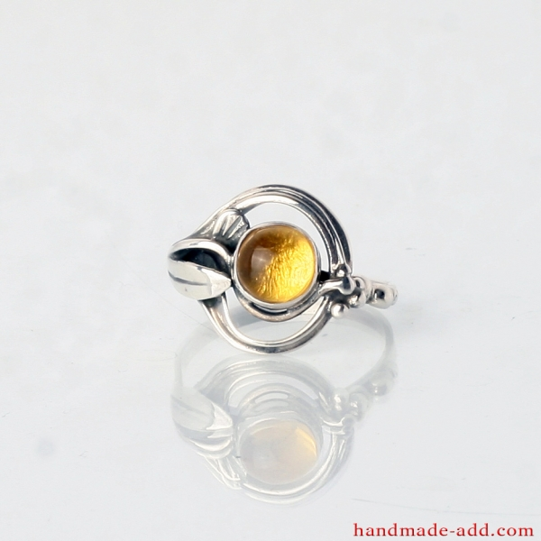 Silver Ring with Amber and Floral Shape