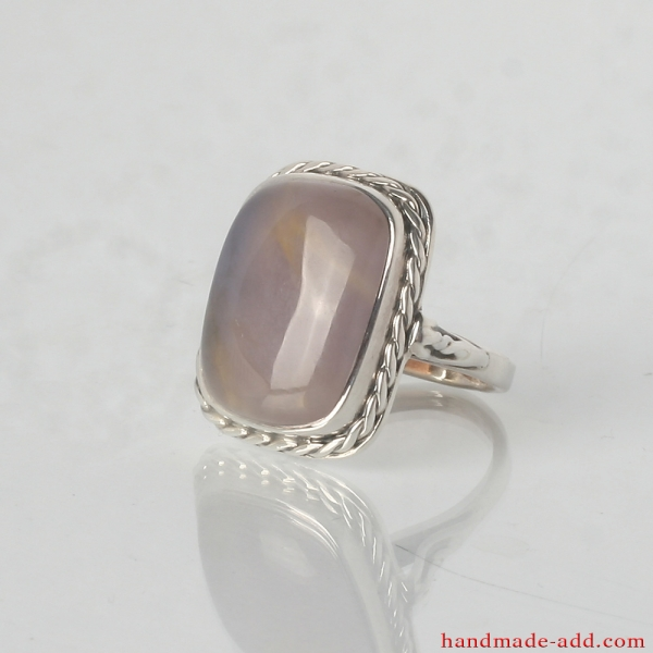 Unique Sterling Silver Ring with Amethyst - Sagenite